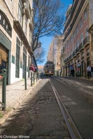 Die Trambahnen sind Beförderungsmittel für Touristen wie auch für Einheimische, durch das auf und ab der kleinen Straßen.